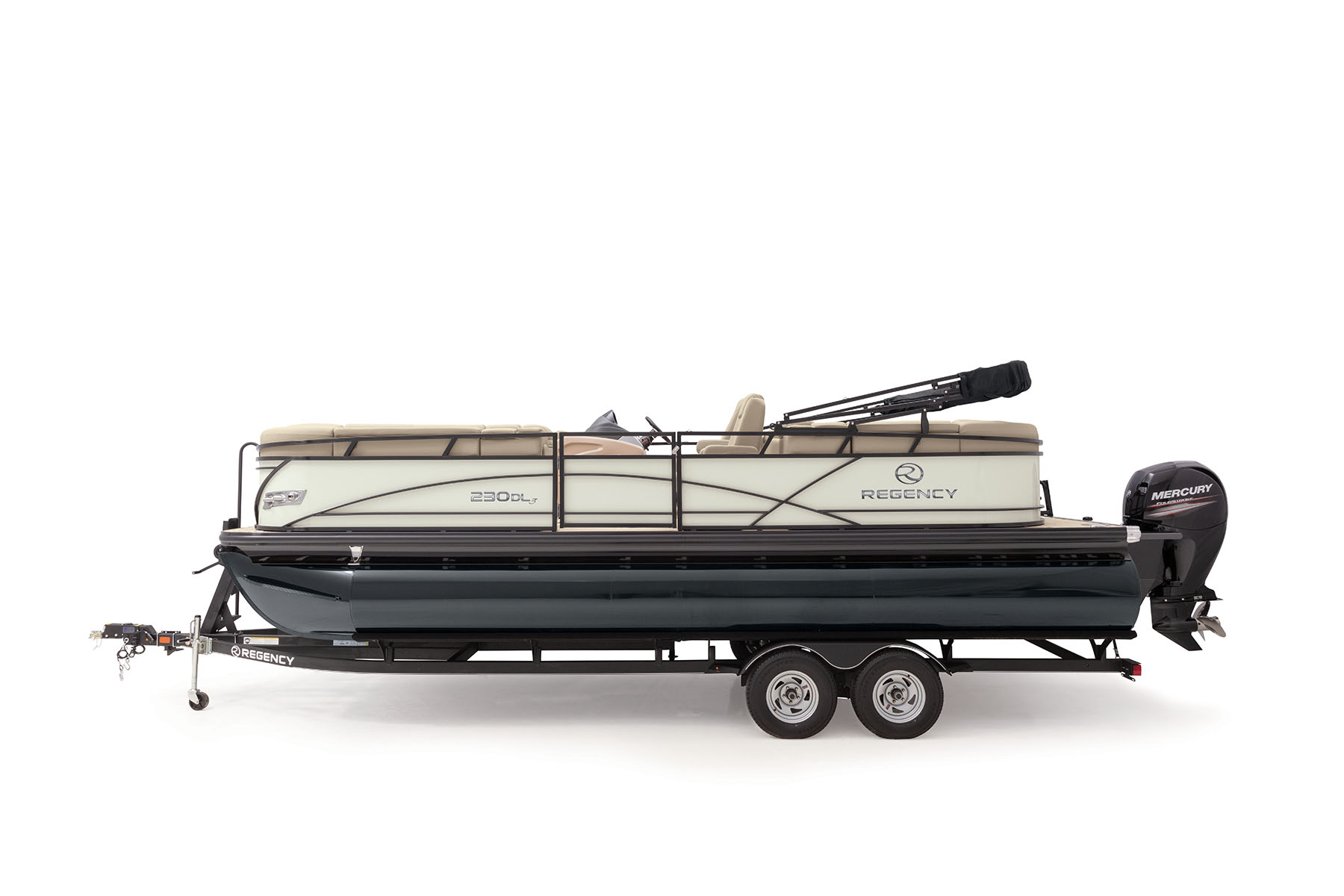 Profile view of 230 DL3 Pontoon
